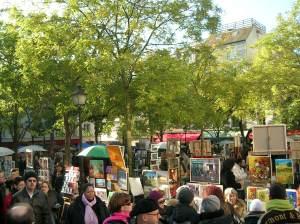 Praça dos artistas em Montmartre