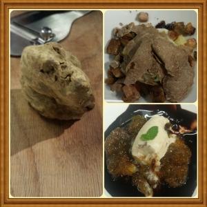 Viura: cogumelos com ovo e trufa branca (foto); chuleta; e sorvete com calda 70% cacau e confitado de figo (foto)