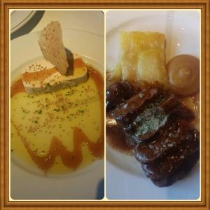 Echaurren: terrine de queijo de cabra com azeite de mel; e carne com folhado de batata e purê de maça.