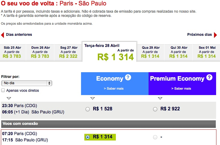 Exemplo de passagem da Air France. A busca mostra os dias em que as passagens no período são mais baratas. Veja que nesse caso, o vôo diurno é mais barato que o noturno.