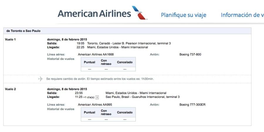 American Airlines ex Canada Brasil