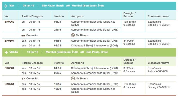 Emirates ex Brasil India