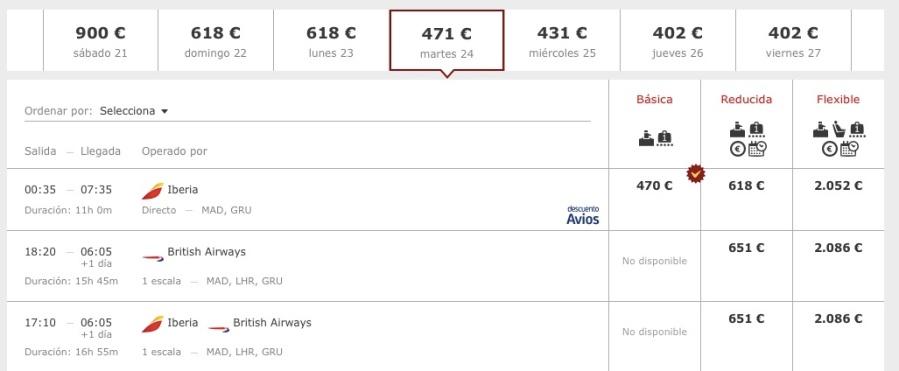 A Iberia também exibe as opções de voos por preço X data.