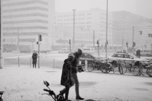 Nevasca em Berlim no mês de novembro