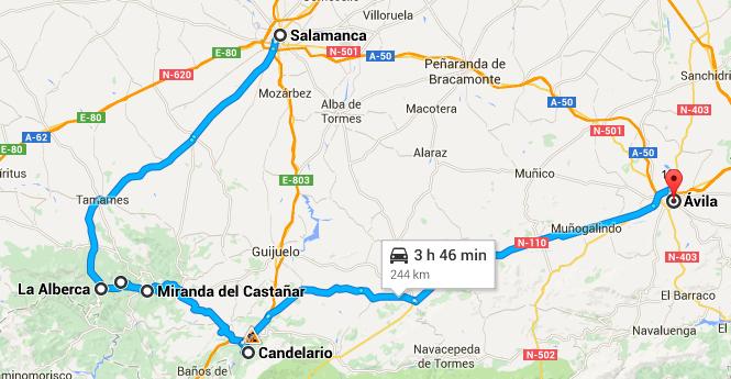 Percurso desde Salamanca, passando pela serra e chegada em Ávila.
