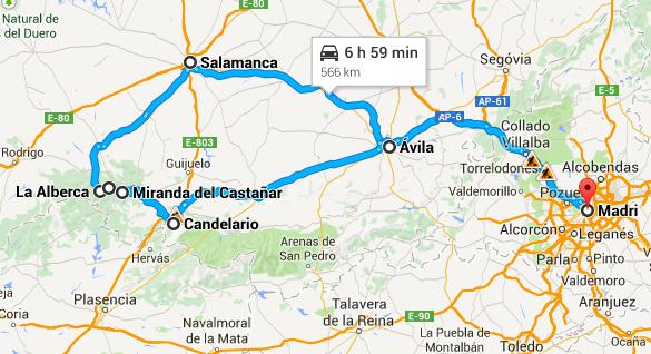 Percurso total com saída e chegada em Madri.