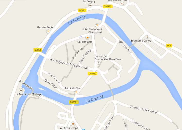 Brantome é uma ilha no Rio Dronne.