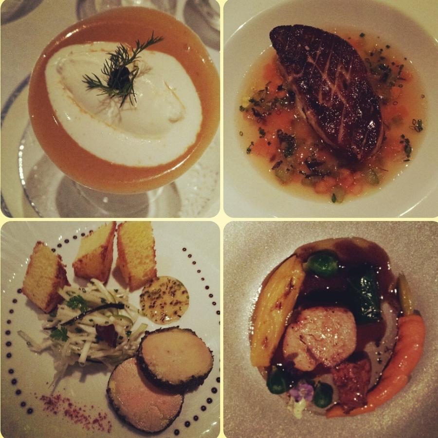 """Jantar no restaurante do Hotel Moulin de l´Abbaye, foies gras em """"dois tempos""""."""