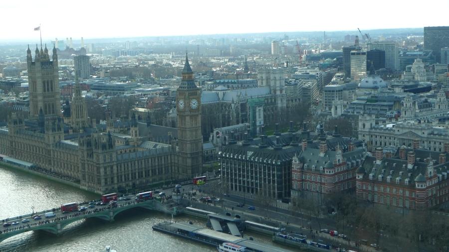 Vista de Londres da London Eye. A roda-gigante é uma das atrações que oferece a compra antecipada de ingresso
