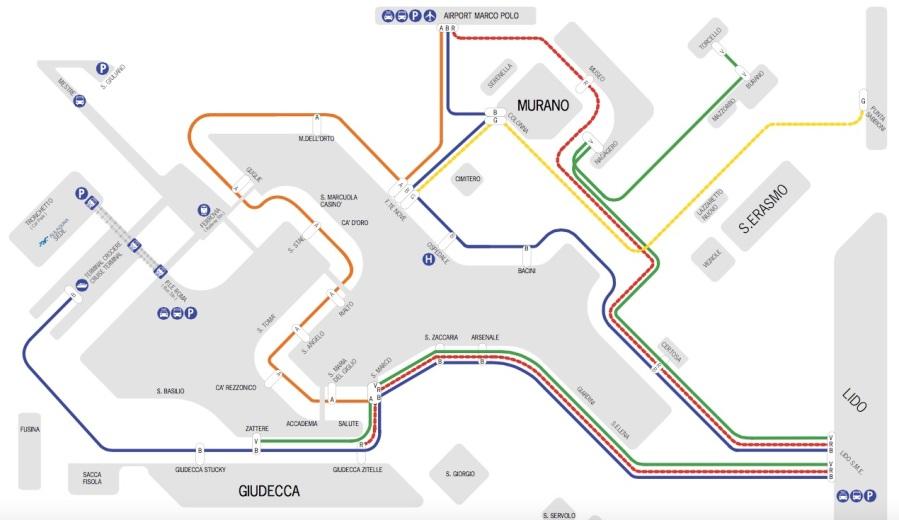 Linhas de vaporetto do Aeroporto à Veneza (site da Alilaguna)