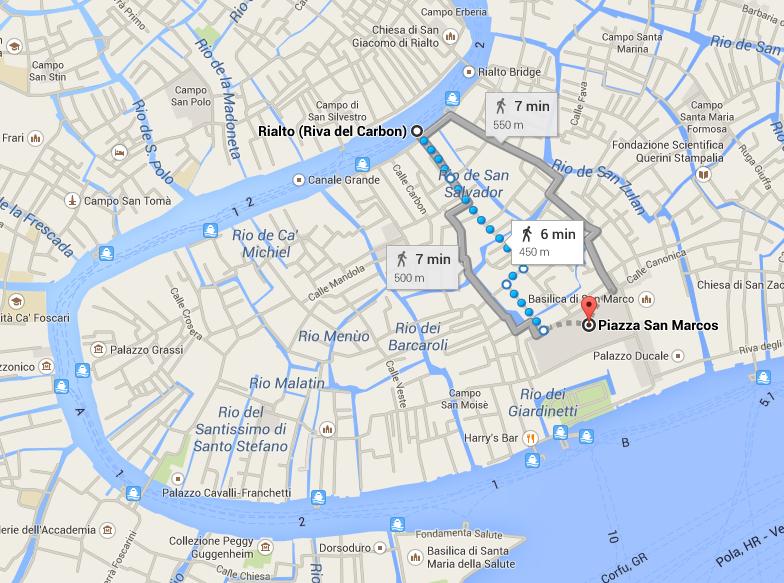 Trajeto entre Rialto e San Marco a pé ou pelo Grande Canal (Google Maps)