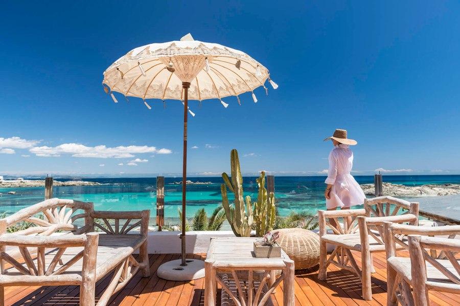 Vista do terraço do bar do Tahiti em Formentera