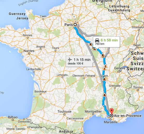 Google Mapas, trajeto Paris a Aix en Provence